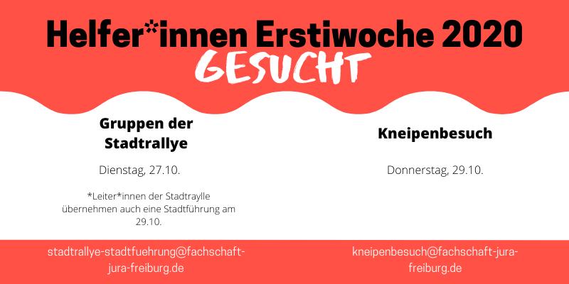 Erstiwoche 2020 // Helfer*innen Gesucht!